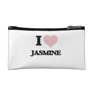 I love Jasmine (heart made from words) design Makeup Bags