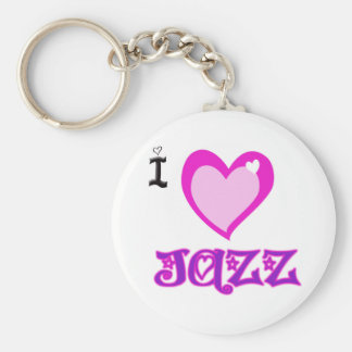 I LOVE Jazz Basic Round Button Key Ring