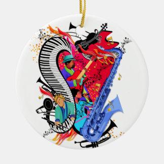 I Love Jazz Music Colorful Musicians Art Print Round Ceramic Decoration