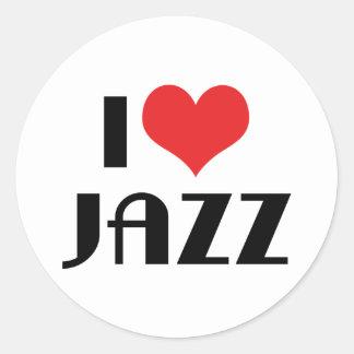 I Love Jazz Round Sticker
