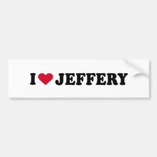I LOVE JEFFERY BUMPER STICKERS