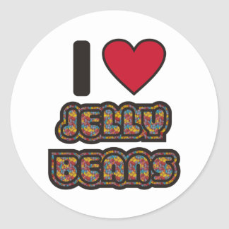 I love Jelly Beans Round Stickers