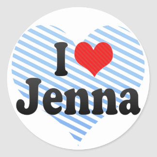 I Love Jenna Classic Round Sticker