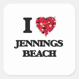 I love Jennings Beach Connecticut Square Sticker