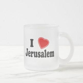 I Love Jerusalem Frosted Glass Mug