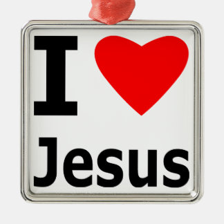 I Love Jesus Silver-Colored Square Decoration