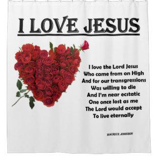 I Love Jesus - White Shower Curtain