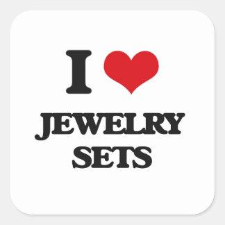 I Love Jewelry Sets Square Sticker