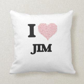 I Love Jim (Heart Made from Love words) Throw Cushion