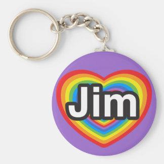 I love Jim. I love you Jim. Heart Basic Round Button Key Ring