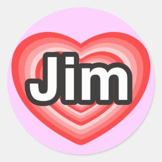 I love Jim. I love you Jim. Heart Round Sticker
