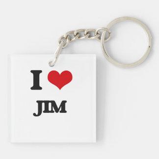 I Love Jim Double-Sided Square Acrylic Keychain