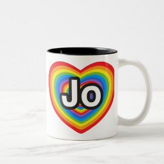 I love Jo. I love you Jo. Heart Two-Tone Coffee Mug