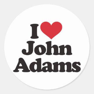 I Love John Adams Classic Round Sticker