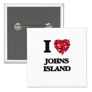 I love Johns Island Washington 15 Cm Square Badge
