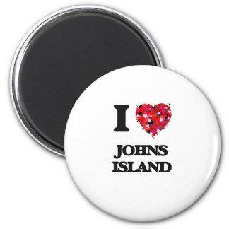 I love Johns Island Washington 6 Cm Round Magnet