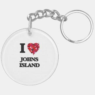 I love Johns Island Washington Double-Sided Round Acrylic Key Ring