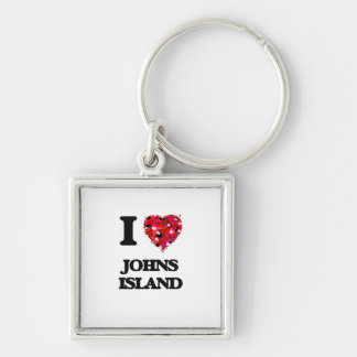 I love Johns Island Washington Silver-Colored Square Key Ring