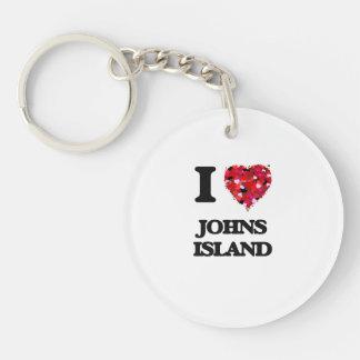 I love Johns Island Washington Single-Sided Round Acrylic Key Ring