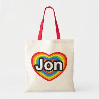 I love Jon. I love you Jon. Heart Canvas Bags