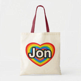 I love Jon. I love you Jon. Heart Budget Tote Bag