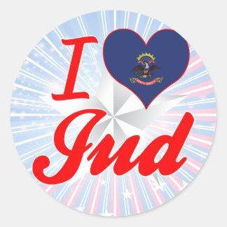 I Love Jud, North Dakota Round Sticker