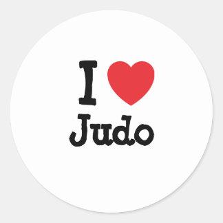 I love Judo heart custom personalized Classic Round Sticker