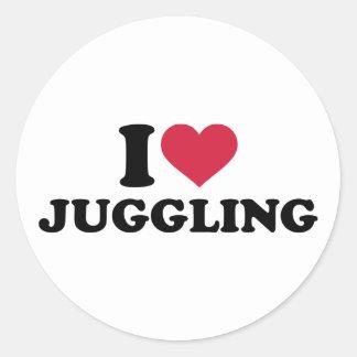 I love Juggling Round Sticker