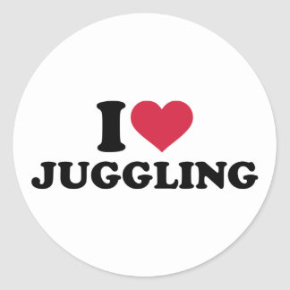 I love Juggling Classic Round Sticker