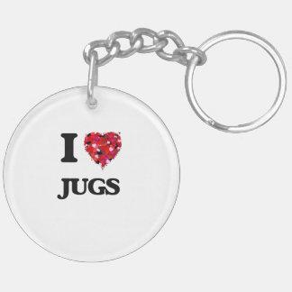I Love Jugs Double-Sided Round Acrylic Key Ring