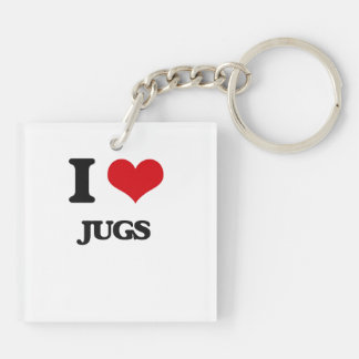 I Love Jugs Double-Sided Square Acrylic Keychain