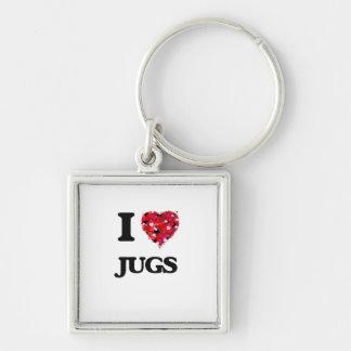 I Love Jugs Silver-Colored Square Key Ring