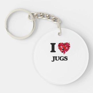 I love Jugs Single-Sided Round Acrylic Key Ring
