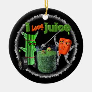 I Love Juice celery & pepper template 100+ items Round Ceramic Decoration