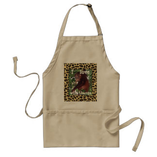 I Love Jungle Wildlife  leopard print design Standard Apron