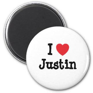 I love Justin heart custom personalized Fridge Magnets