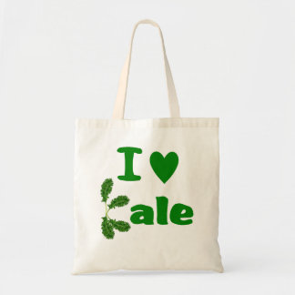 I Love Kale (I Heart Kale) Reusable Grocery Cloth Tote Bag