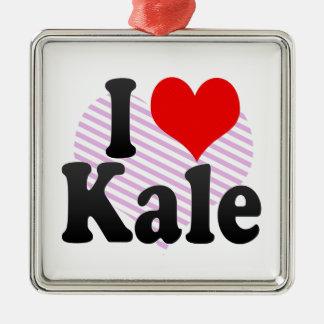 I love Kale Silver-Colored Square Decoration