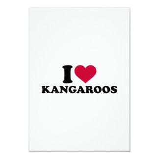 """I love Kangaroos 3.5"""" X 5"""" Invitation Card"""