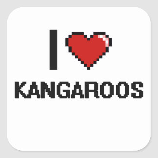 I love Kangaroos Digital Design Square Sticker