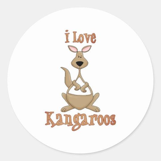 I Love Kangaroos Round Sticker