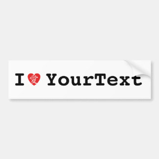 I love (kanji for love) Your Text Bumper Sticker