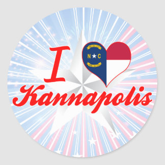 I Love Kannapolis, North Carolina Round Sticker