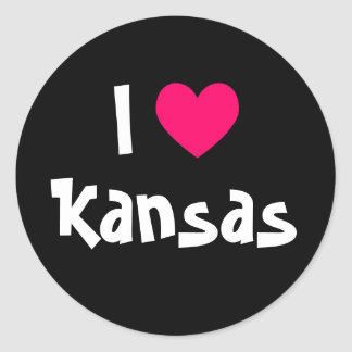 I Love Kansas Classic Round Sticker