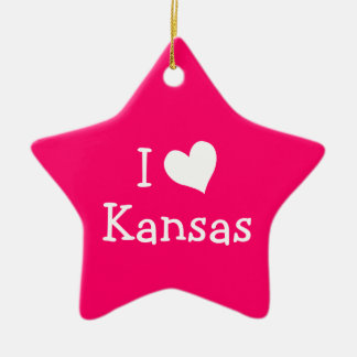 I Love Kansas on Pink Christmas Ornament