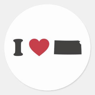 I Love Kansas Round Sticker