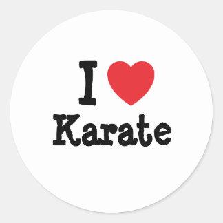 I love Karate heart custom personalized Classic Round Sticker