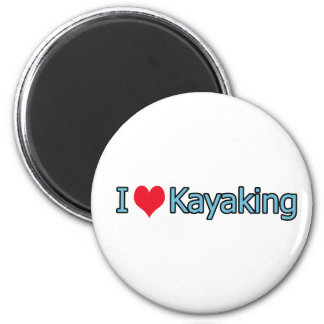 I Love Kayaking Logo 6 Cm Round Magnet