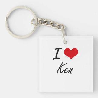 I Love Ken Single-Sided Square Acrylic Key Ring