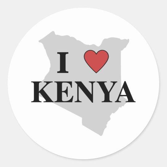 I Love Kenya Classic Round Sticker